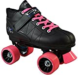 Pacer Mach-5 Pink GTX-500 Black Quad Roller Speed Skates w/ 2 Pair of Laces (Pink & Black)