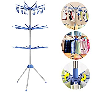 FDegage Household Collapsible Laundry Towel Drying Rack Portable Stainless Steel Tripod 3 Tier Free Standing Clothes Hanging Rack