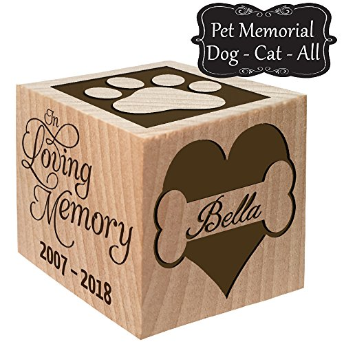 Glitzby Pet Memorial Keepsake Block, Dog Cat or any Animal