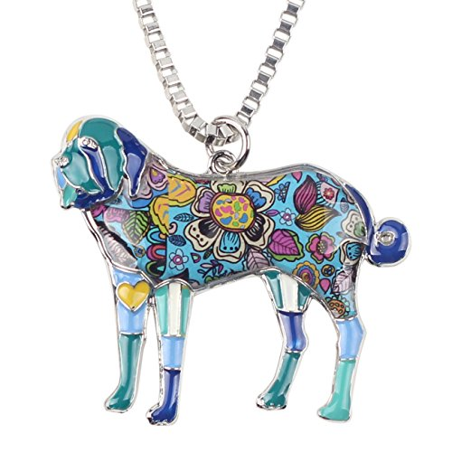 "BONSNY Love Heart Enamel Zinc Alloy Metal Saint Bernard Necklace Dog Animal Jewelry Pendant Unique Design 18"" (Blue)"