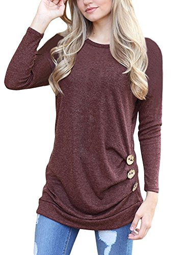 MOLERANI Women Autumn Long Sleeve Loose Tunic Green Sweatshirt With Buttons Wine...