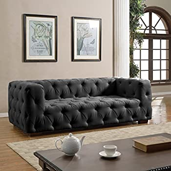 large tufted linen fabric sofa classic living room couch dark grey