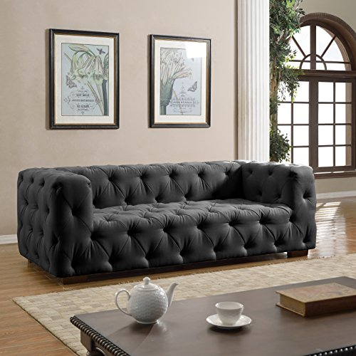 Large Tufted Linen Fabric Chesterfield Sofa, Classic Living
