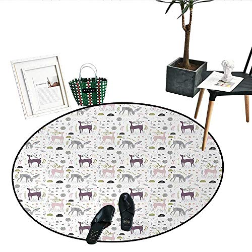 Forest Print Area Rug Enchanted Woodland Creatures Deer with Curved Antlers Foliage Dotted Rocks Pattern Circle Rugs for Living Room (43