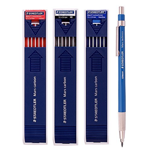 Staedtler Mars Technico 780C Mechanical Lead holder,clutch Pencil /Carbon Lead 2.0 mm (Lead Holder 1 Pencil +Carbon (780c Lead Holder)