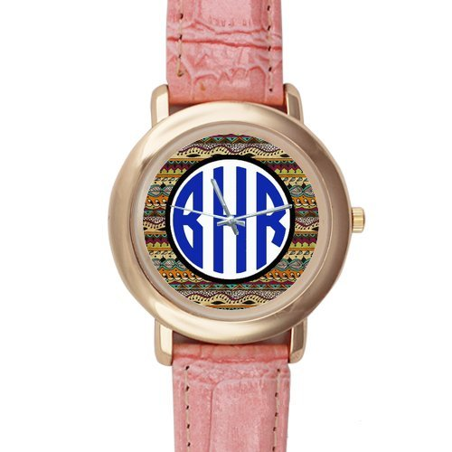 Gifts for girls or ladies Colourful Aztec Pattern Pink Leather Alloy High-grade Watch by Aztec Pattern Watch (Image #1)