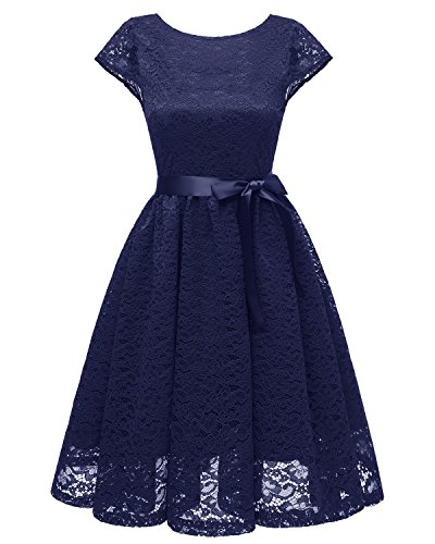 ouxiuli Women's 40s Swing Skaters Shirtwaist Floral Print Prom Wedding Outfit Dresses M -