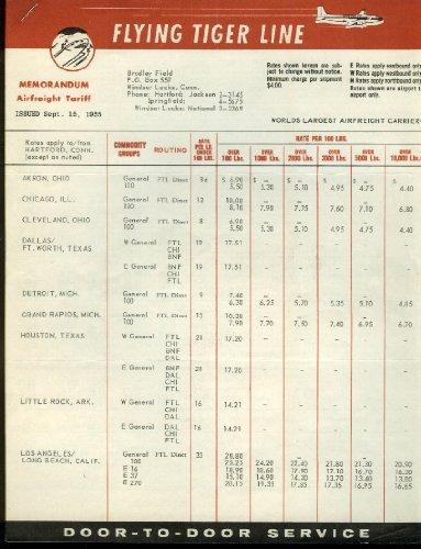 Flying Tiger Line Memorandum Airfreight Tariff 2-sheet bulletin 9/15 1955