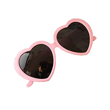 HuaYang Fashion Cute Oversized Heart-Shaped Plastic Frame Retro Sunglasses  Eyeglasses(Pink) c17dd25fd