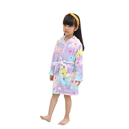 LANTOP Kids Soft Bathrobe Comfy Unicorn Flannel Robe Unisex Hooded Gift All  Seasons Sleepwear  Amazon.in  Home   Kitchen 72b2df1f3