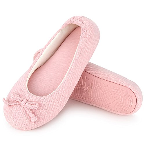 Wishcotton Womens Breathable Ballerina Slipper Closed Toe Slip On Slippers Pink -