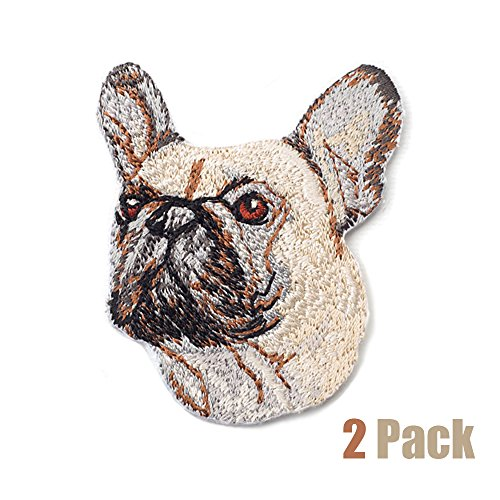 2 Pack Delicate Embroidered Patches,Cute Dogs Embroidery Patches, Iron On Patches, Sew On Applique Patch, Custom Backpack Patches for Men, Women, Boys, Girls, Kids, SUPER COOL! (French Bulldog)
