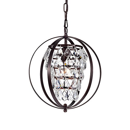 Crystal Chandelier Lighting Bronze Vintage Pendant Lighting 1 Light Metal Hanging Light Fixture