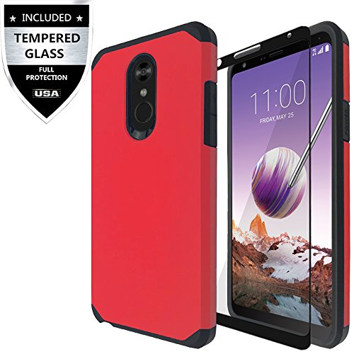 LG Stylo 4 Case, LG Stylo 4 Plus Case, LG Q Stylus Case with Tempered Glass Screen Protector,IDEA LINE Heavy Duty Protection Hybrid Hard Shockproof Slim Fit Cover - Red
