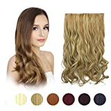 FESHFEN 20' One Piece 3/4 Full Head Clip in Hair Extensions Long Curly Wave Synthetic Hair Extensions 5 Clips Hairpieces for Women 130g(16H613 Golden Blonde & Bleach Blonde)