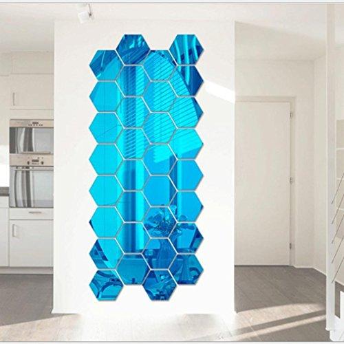 Gocheaper Decor Wall Stickers,12Pcs/set 3D Mirror Removable Wall Decal Hexagon Vinyl Decal DIY Art Decor (C 80x70x40mm) ()