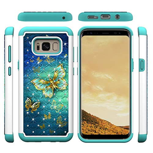 Galaxy S8 Plus Case,2 in 1 Hybrid Case Inner Soft TPU Bumper Back Cover Hard PC Shell with Creative Pattern & Point Drill Impact Resistant Case Compatible with Samsung Galaxy S8 Plus -Butterfly B