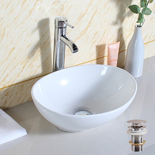Basong Above Counter Bathroom Sink Oval Porcelain Ceramic Vessel Vanity Sink Art Basin White 15.7x13x6 In.with Pop-Up Drain