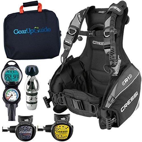 Cressi R1 BCD Leonardo Dive Computer AC2 Compact Regulator Set GupG Reg BagScuba Diving Package Grey Reg M (Best Scuba Gear Packages)