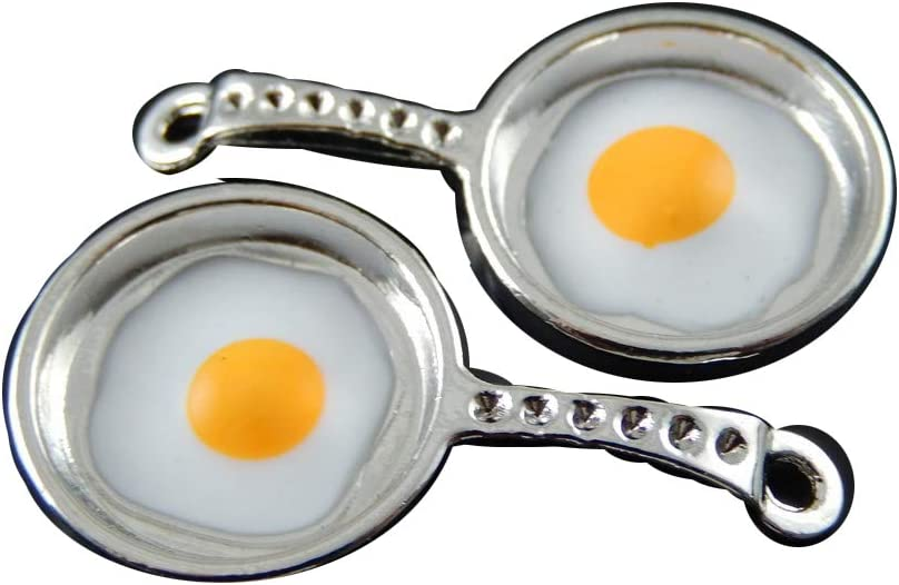Frying Pan Charms with Fried Eggs Fun Bracelet Necklace Jewelry Making Food Key Ring (8pcs)