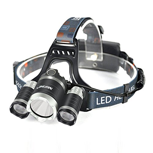 Mifine LED Headlamp 5000 Lumens Waterproof Flashlight, 4 Modes Headlight 18650 Rechargeable Batteries Wall Charger Outdoor Sports Like Running,Camping Hiking