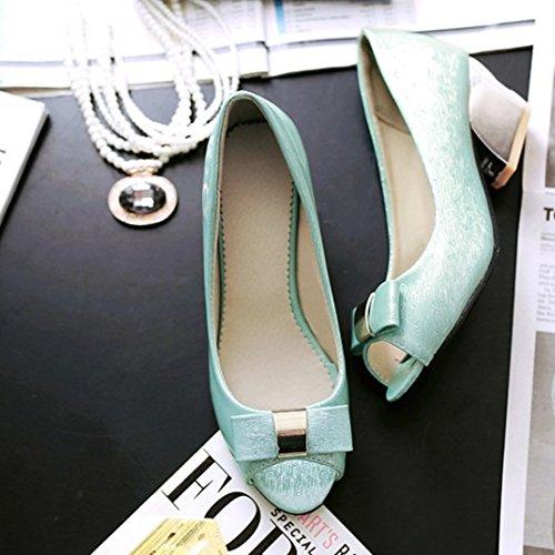 86330e45 ... COOLCEPT Mujer Moda Peep Toe Tacon Ancho medio Sandalias with Bowknot  Azul ...