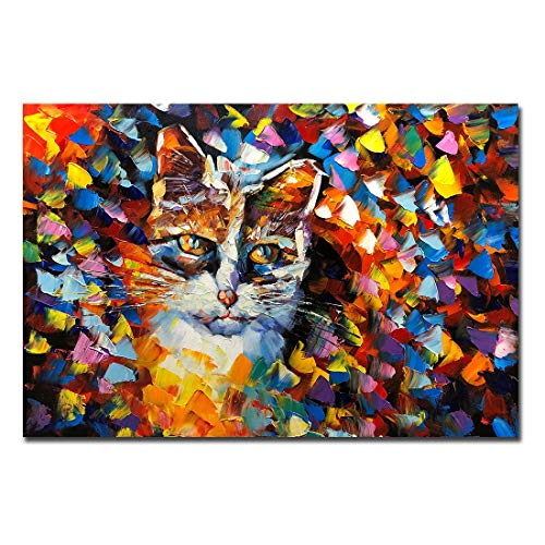 V-inspire 24x36inch Animal Art Hand Painted Canvas Cat Oil Painting Modern Abstract Canvas Wall Art Landscape Artwork Home Decor Art Wood Inside Framed Ready to Hang (Abstract Animal Art)