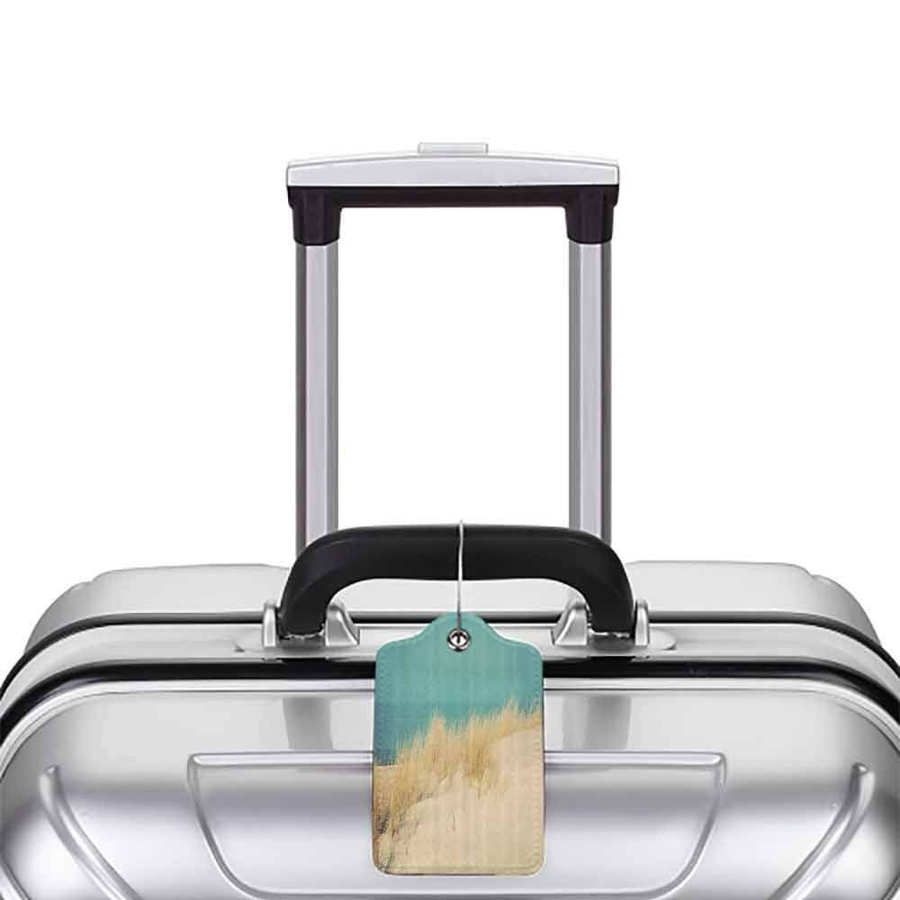 Waterproof luggage tag Wide Tap Calm Sunny Beach Scenery with Sand Dunes Morning in Baltic Sea Tranquil Picture Soft to the touch Cream Teal W2.7 x L4.6