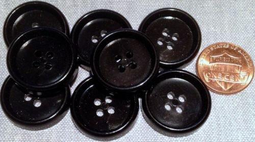 8 Shiny Concave 4-hole Black Plastic Buttons 7/8'', 23mm # 7757