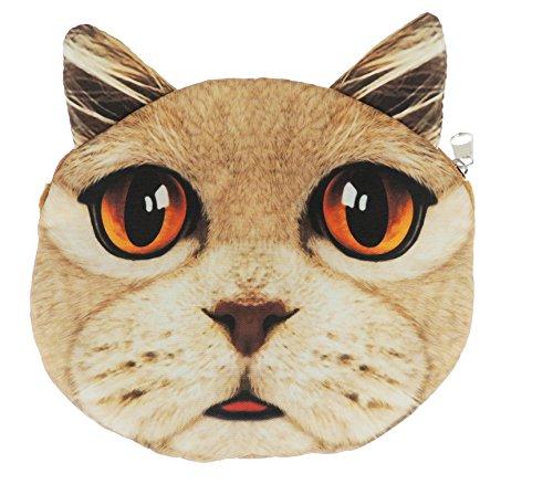 Adorable gato cara de gato pequeño bolso de mano bolso de hombro Beioge Orange Eyes
