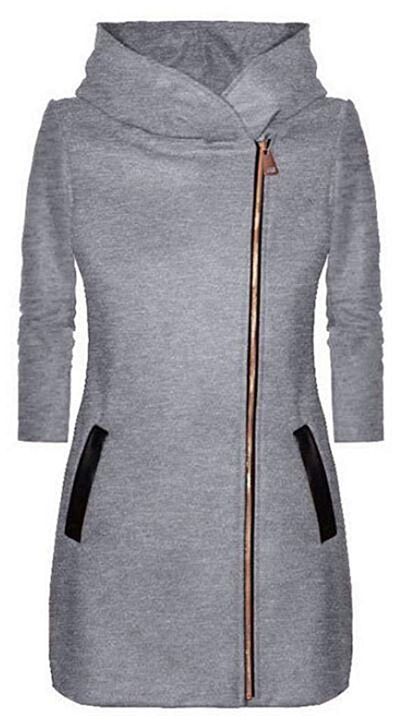 Fubotevic Womens with Velvet Zip Front Mid Length Cardigan Winter with Pockets Hoodies Sweatshirt