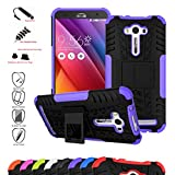 Asus Zenfone 2 Laser 5.5 Case,Mama Mouth Shockproof Heavy Duty Combo Hybrid Rugged Dual Layer Grip Cover with Kickstand For Asus Zenfone 2 Laser 5.5 ZE550KL(With 4 in 1 Free Gift Packaged),Purple