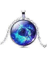 Jiayiqi Jewelry Mystical Galaxy Universe Glass Time Gem Dangle Pendant Statement Necklace for Women