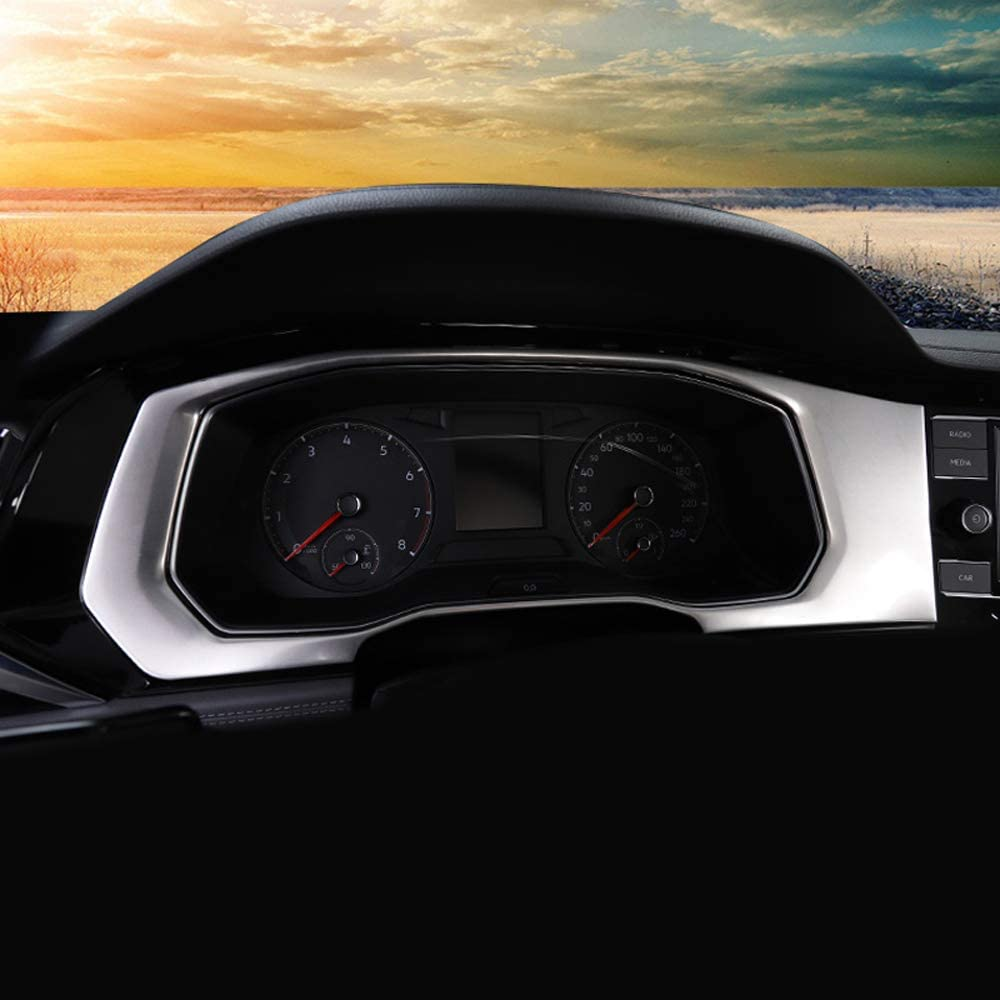 Car Styling Silver Dashboard Instrument Panel Frame Cover Trim for VW Volkswagen Jetta 2019 Bishop Tate Left Hand Drive ONLY