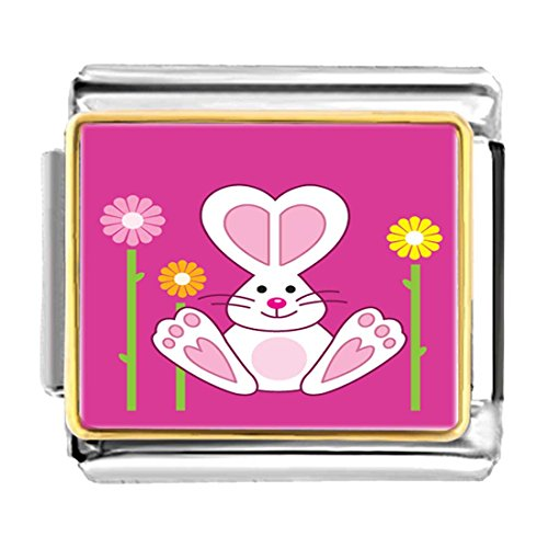 GiftJewelryShop Gold Plated Cartoon Theme Bracelet Link Photo Italian Charm, Bunny Love Easter