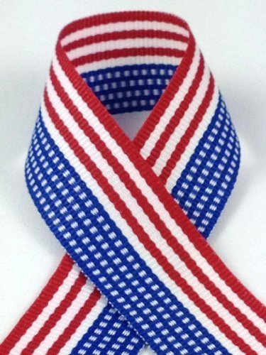 Yds Fabric Stripe (Schiff Ribbons 44212-5 10-Yard Patriotic Stripe Polyester Ribbon, 7/8-Inch, Red/White/Blue)