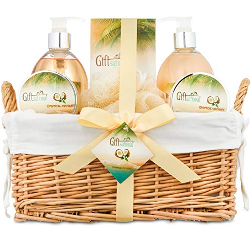 Set Gift Happy Birthday (Spa Gift Basket for Women With Tropical Coconut Fragrance in Large Willow Basket | Includes Bubble Bath, Shower Gel, Body Scrub, Body Lotion, Bath Salts | Great Birthday, Anniversary or Wedding Gift)