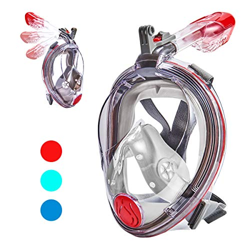 VELLAA Snorkel Mask Full Face for Kids and Adults, Dry Top Set Anti-Fog Anti-Leak 180 Panoramic Large View Free Breath with Detachable Camera Mount, Adjustable Head Straps Foldable Snorkeling Mask