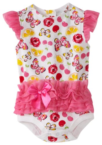 Vitamins Baby Baby Girls' Butterfly And Fruit Tutu Bodysuit