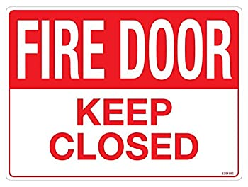 "Fire Door Keep Closed Sticker, 10"" x 7"""