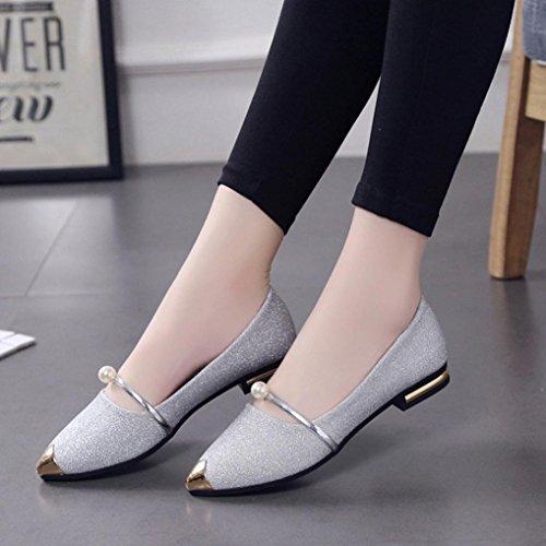 de Feixiang zapatos zapatos Moda talón Verano Plata casuales pie bajo las del dedo del ladise zapatos del del mujeres señalaron Playa los SATrnSwq