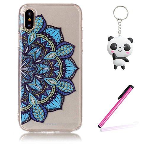 iPhone X Hülle Halbkreisblume Premium Handy Tasche Schutz Transparent Schale Für Apple iPhone X / iPhone 10 (2017) 5.8 Zoll + Zwei Geschenk