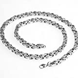 16_40 Inch Silver Tone 316 L Stainless Steel Charming Men's Women's Byzantine Chain 4 mm