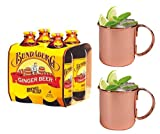 Bundaberg Ginger Beer (Australia) and Moscow Mule Mug Combo Set - Includes 4-pack of Bundaberg Ginger Beer and 2 Copper Moscow Mule Mugs