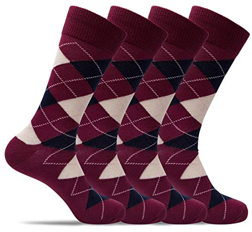 Mens 4 Pack of Light Cotton Blend Fun, Funky and Colorful Business Dress Socks (Shoe: 8-12 / Sock: 10-13, Berry Argyle) from Dap Rogers