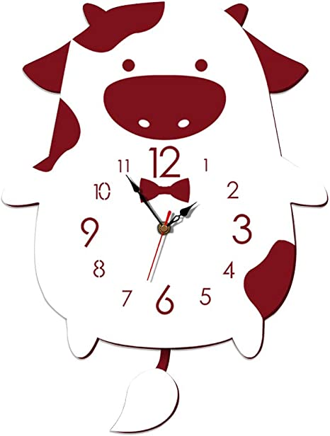 Amazon Com Lioobo Cartoon Swing Wall Clock Animal Pendulum Clock Hanging Wall Clock Silent Clock Bedroom Living Room Decor Without Battery Red