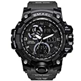 Smael Mens Large Dual Dial Digital Watch Casual Sport Watch LED Military Watch with Rubber Strap (Grey Strap with Black face)