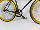 Matte Black and Gold Fixie with Bullhorns Single Speed Fixie Bike with Flip Flop Hub By Sgvbicycles Fixies