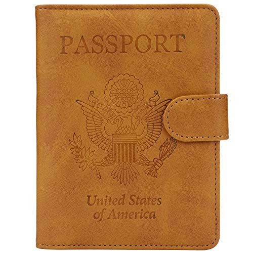 GDTK Leather Passport Holder Cover Case RFID Blocking Travel Wallet (California Desert)