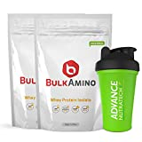 Advance Nutratech Bulkamino Whey Protein Isolate 2Kg 4.4Lbs(1Kg X 2 Pouches) Unflavoured + Free Shaker …